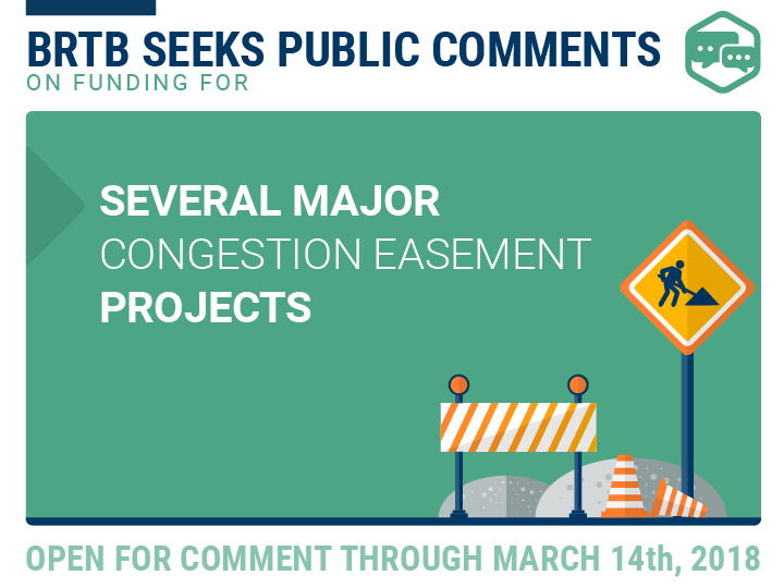 BRTB seeks public comments on funding for several major congestion easement projects in 2018-2021 TIP, Maximize2040